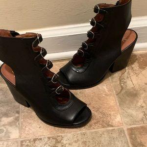 High heeled bootie sandals